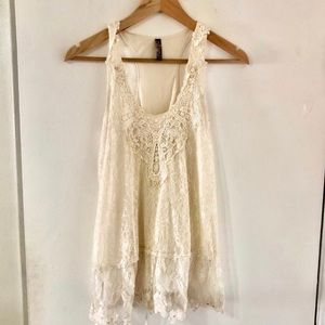 Free People Beaded Embroidered Lace Top